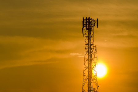 cell tower: Communication tower on sunset background