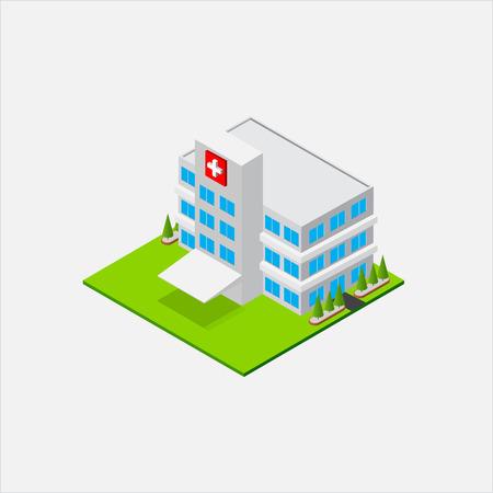 Isometrisch klein ziekenhuis buiding, gezondheid en medische, geïsoleerd op witte achtergrond vector illustratie Stock Illustratie