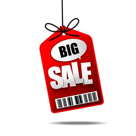 cost reduction: Big Sale text with hanging tag banner label vector illustration