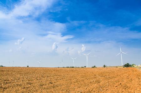 bong: Electrical Eco power maker wind turbine in cassava farm - Huay bong, Dan Khun Tod, Nakhon Ratchasima, Thailand Stock Photo