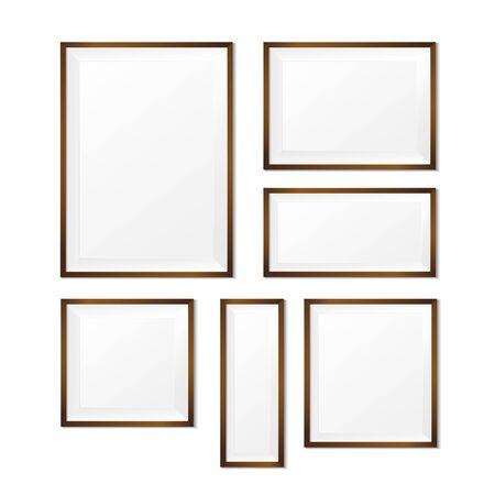 boarder: Blank wood photo frame on white background, vector illustration