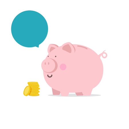 Piggy bank  flat icon with blank bubble text vector illustration eps10  イラスト・ベクター素材