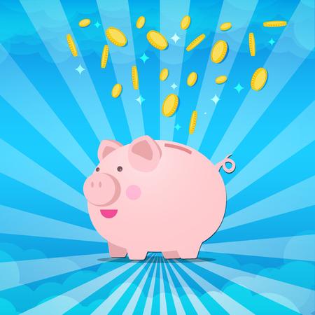 Piggy bank  on sunburt and splash coin of moneyvector illustration eps10