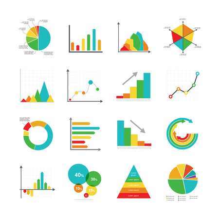 Set of business marketing dot bar pie charts diagrams and graphs flat icon elements isolated vector illustration eps10