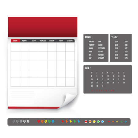 Blank Calendar for planning template vector illustration Çizim