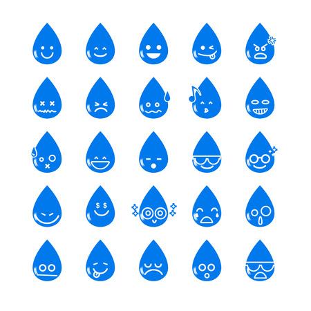 carita feliz caricatura: Colección del icono de la gota de agua diferencia emoticono en el fondo blanco ilustración vectorial