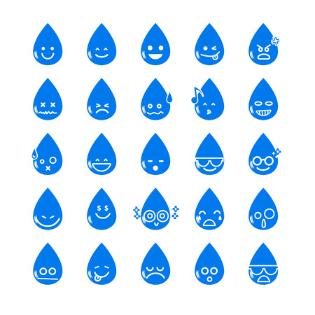 Collection of difference emoticon water drop icon on the white background vector illustration Çizim