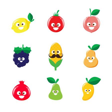 Het verzamelen van happy fruit cartoon pictogram op witte achtergrond vector illustratie Stock Illustratie
