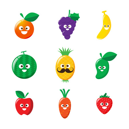 Collection of happy fruit cartoon icon on white background vector illustration