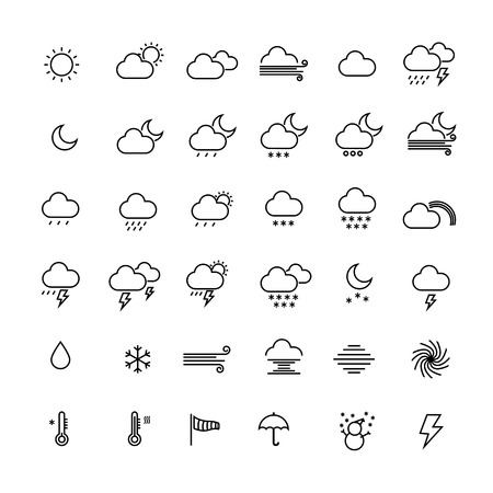Collection of weather line icons on white background. Vector illustration. Çizim