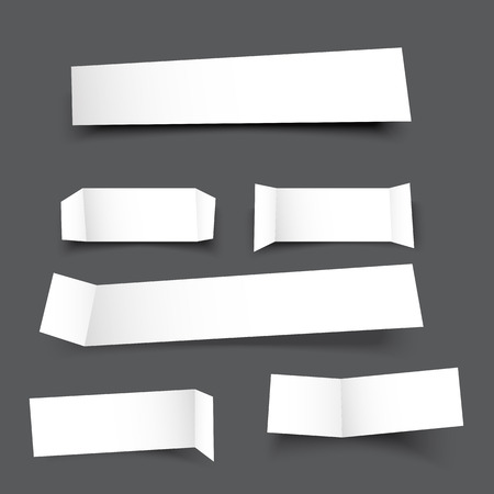 round corner: white paper banner round corner with drop shadows on grey background illustration Illustration