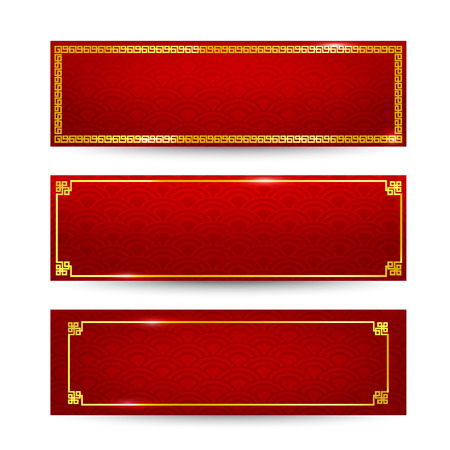 Abstract chinese red background and gold border isolated on the white background