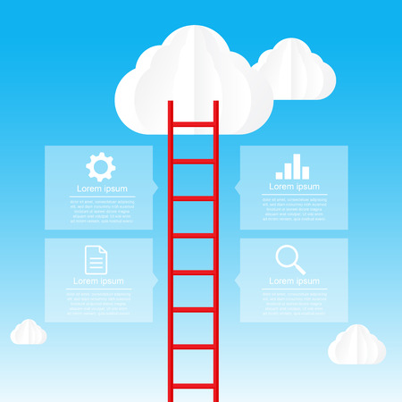 trap naar de hemel: Ladder naar de hemel en cloud infographic data bubble template vector illustratie eps10
