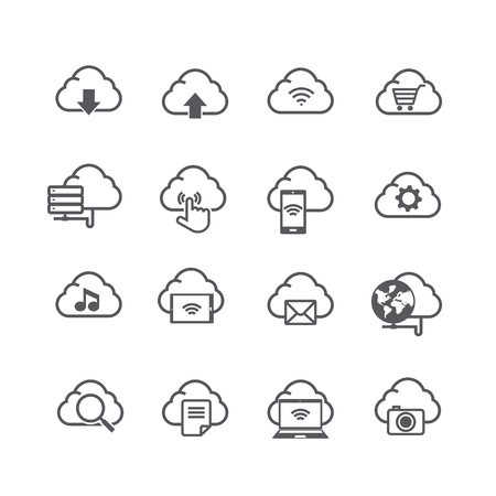cloud computer: Set of cloud computer and social network connection icon isolated on white background vector illustration eps10