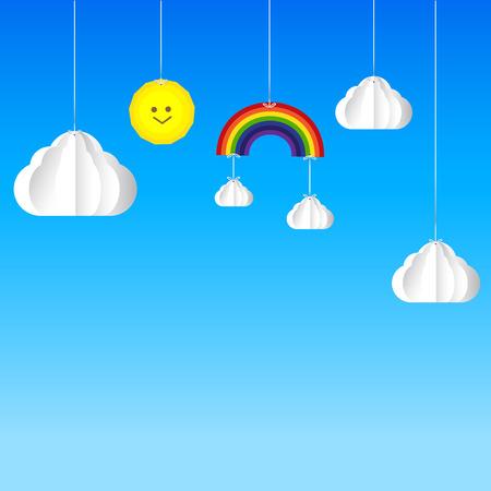 Sun cloud rainbow hanging on threads - sky background vector illustration Vector