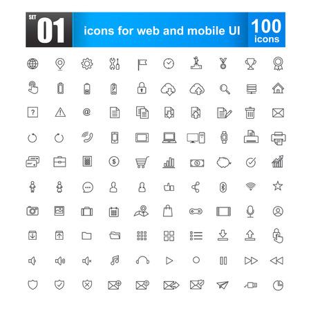 Iconos de línea simple para diseño web y ui móvil ilustración vectorial Ilustración de vector