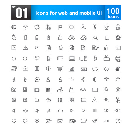 Simple line icons for web design and mobile ui vector illustration   Illustration
