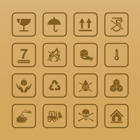 Set of packing symbols icon for box on cardboard color background vector illustrationeps 10