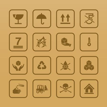 Set van de verpakking symbolen pictogram voor vak op karton kleur achtergrond vector illustrationeps 10