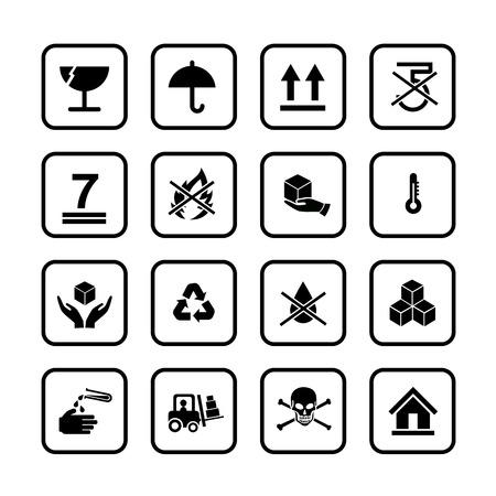 packing: Set of packing symbols icon for box on white background vector illustration eps 10