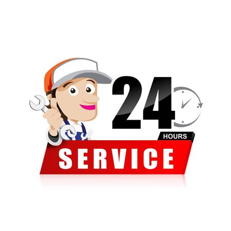 hand tool: Smile mechanic man with tool in hand service 24 hours vector illustration eps10 Illustration