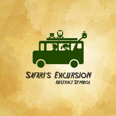 ausflug: Safari Excursion abstrakten Symbol auf schmutzigen Hintergrund Vektor-Illustration eps10 Illustration