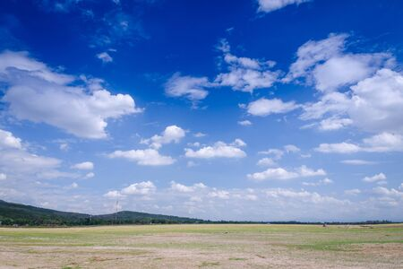 Landscape of mountain sky and cloud dry field in Thailand