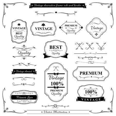 빈티지 프레임 테두리 규칙 및 디자인 요소의 컬렉션