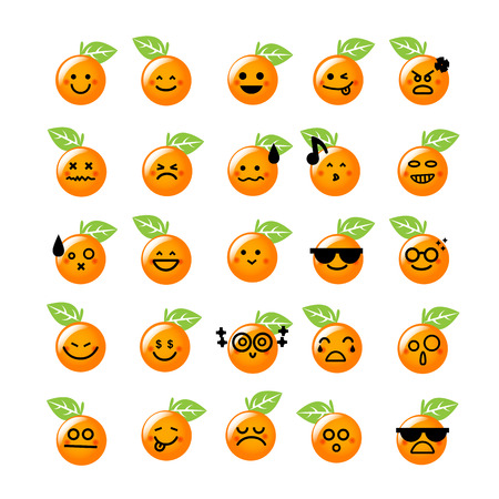 face expressions: Collection of difference emoticon icon of Orange icon on the white background vector illustration Illustration