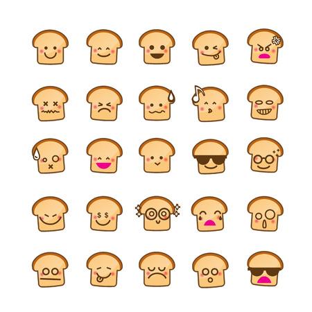 Collectie van verschil emoticon icoon van Brood pictogram op de witte achtergrond vector illustratie
