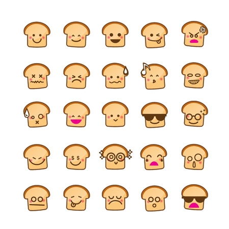 happy emoticon: Collection of difference emoticon icon of Bread icon on the white background vector illustration