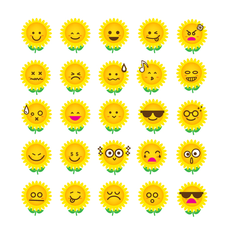 angry smiley face: Collection of difference emoticon icon of sunflower on the white background vector illustration