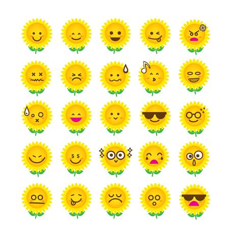 Inzameling van verschil emoticon pictogram van zonnebloem op de witte vectorillustratie als achtergrond