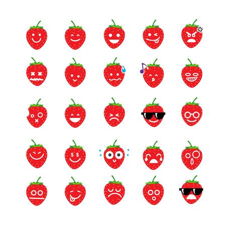 Het verzamelen van verschil emoticon icoon van aardbeien op de witte achtergrond vector illustratie Stock Illustratie