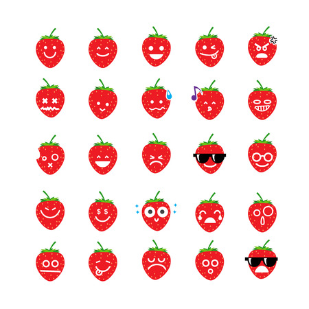 Collection of difference emoticon icon of  strawberry on the white background vector illustration