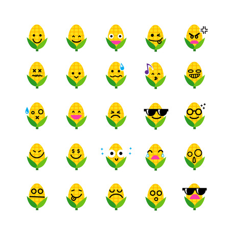 emoticons: Collection of difference emoticon icon of corn on the white background vector illustration Illustration