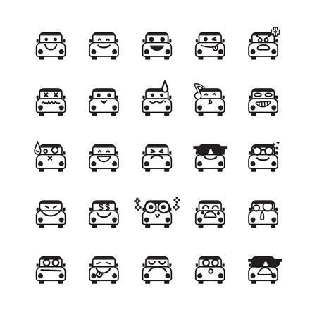 smiley face car: Collection of difference emoticon icon of car on the white background  vector illustration