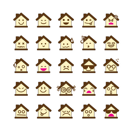 happy emoticon: Collection of difference emoticon icon of house on the white background vector illustration
