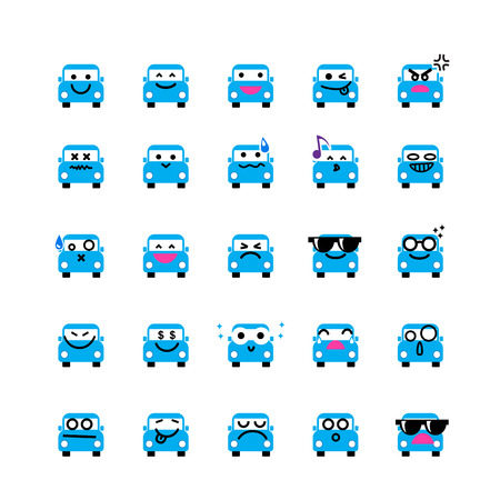 happy emoticon: Collection of difference emoticon icon of car on the white background vector illustration