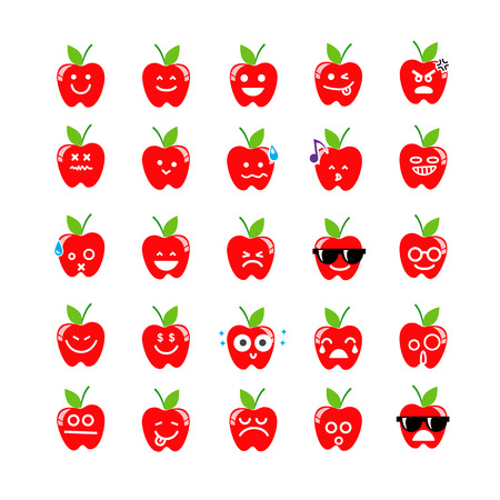 apple isolated: Collection of difference emoticon icon of apple on the white background vector illustration Illustration