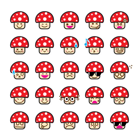 happy emoticon: Collection of difference emoticon icon of mushroom on the white background vector illustration