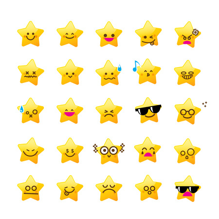 Collection of difference emoticon icon of star cartoon the white background vector illustration