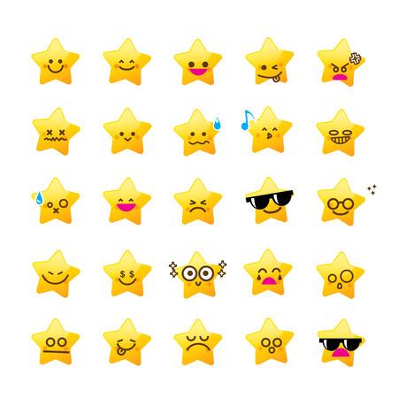 Collectie van verschil emoticon icoon van ster cartoon de witte achtergrond vector illustratie