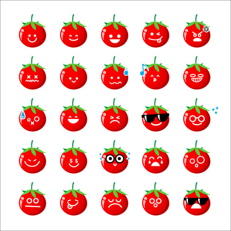 happy emoticon: Collection of difference emoticon icon of tomato cartoon isolated on white background vector illustration