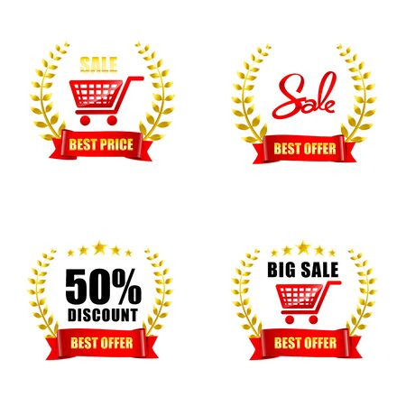 pledge: Collection of sale and price wreaths icon isolated on white background vector illustration
