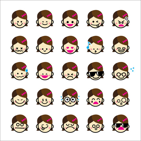 personality character: Collection of difference emoticon icon of girl cartoon isolated on white background vector illustration