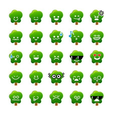 emoticons: Collection of difference emoticon icon of tree cartoon the white background vector illustration