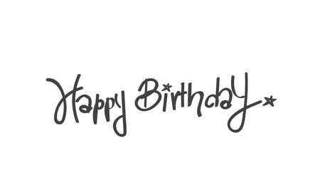 title hands: Happy Birthday calligraphy free hand write, isolated on white background, vector illustration