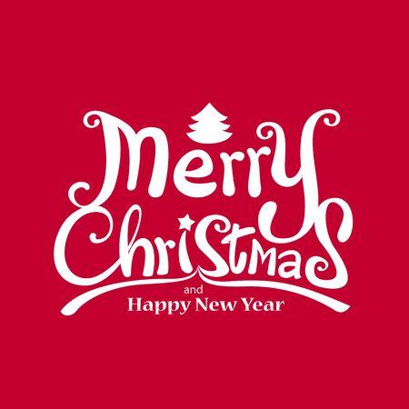 Feliz Navidad Vector caligráfico mano libre de escritura sobre fondo rojo ilustración vectorial Foto de archivo - 46611710