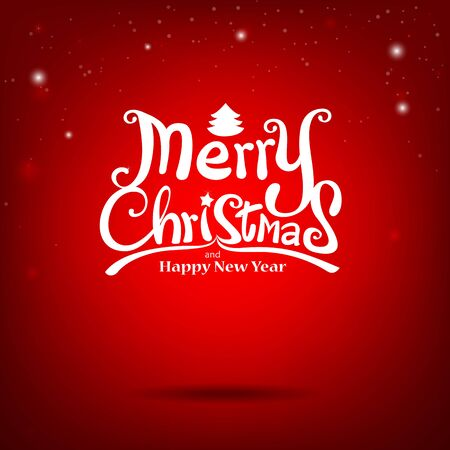 hand write: Merry Christmas Vector Calligraphic free hand write on red background vector illustration   Illustration